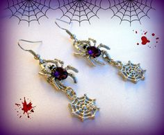 Spider Web Earrings..Purple Spider Earrings..Halloween Earrings..Dark Purple Spider Earrings..Vampire Earrings..Twilight Sparkle Earrings by UniqueTrinkets4u on Etsy #uniquetrinkets