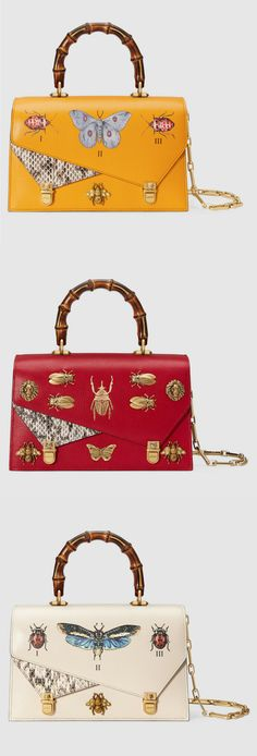 Not thrilled about the little alligator triangles, but agree that having some texture there is nice. Gucci Ottilia leather small top handle