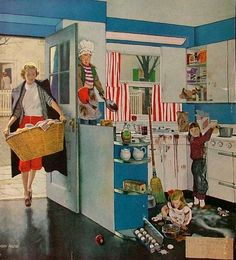 'Mother's Little Helpers' by John Falter for the 1953 Saturday Evening Post magazine.  Mommy is in for a surprise!!  LOL