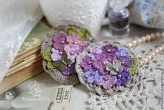 """Купить Две броши """"Цветы и бабочки"""" - сиреневый, лиловый, розовый, фиолетовый, брошь"""