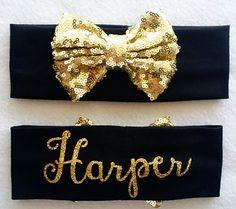 Gold and Black Personalized Baby and Toddler Sequin Bow Headband, Gold and Black Headband, Sparkly Headband, Turban Headband, Liv & Co.™ by LivAndCompany on Etsy