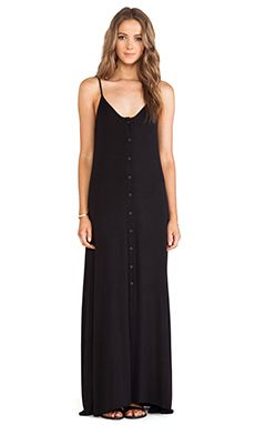 96fe0b9ad4 Indah Uma Pleat   Button Maxi Dress em Preto