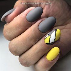 Painted nails are already an indispensable thing for girls. May Nails, Love Nails, How To Do Nails, Pretty Nails, Hair And Nails, Nail Swag, Geometric Nail, Yellow Nails, Nagel Gel