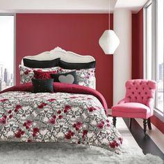 Betsey Johnson® Rock Out Reversible Comforter Set in Red/Black - BedBathandBeyond.com