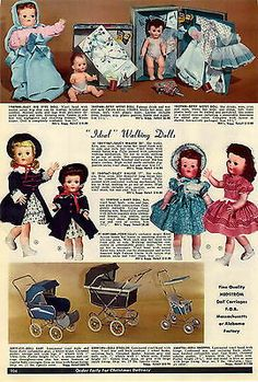 1956 AD Ideal Walking Dolls Saucy Walker Baby Big Eyes Betsy Wetsy Mickey Mouse Toy Catalogs, New Dolls, Dolls Dolls, Vintage Advertisements, Vintage Ads, Vintage Vibes, Bear Toy, Antique Toys, Old Toys