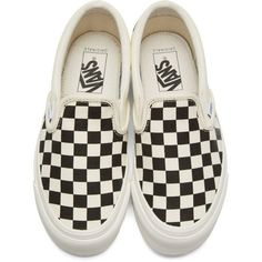 Vans Off-White and Black Checkerboard OG Classic Slip-On Sneakers (798.600 IDR) ❤ liked on Polyvore featuring shoes, sneakers, black and white checkered shoes, leopard print slip-on sneakers, vans trainers, leopard print slip-on shoes and white and black sneakers