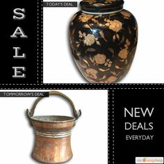"""Today Only! 40% OFF this item. Follow us on Pinterest to be the first to see our exciting Daily Deals. Today's Product: Sale -  12.5"""" Extra Large \ Wide Black & Gold Antique Ginger Jar Buy now: https://orangetwig.com/shops/AABdT38/campaigns/AACmnzZ?cb=2016006&sn=Heathertique&ch=pin&crid=AACmnnn&exid=273191490&utm_source=Pinterest&utm_medium=Orangetwig_Marketing&utm_campaign=05-02-16   #vintagefurnitureonline #homedecor"""