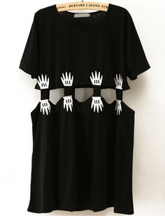 Black Short Sleeve Hand Print Midriff T-Shirt - Sheinside.com
