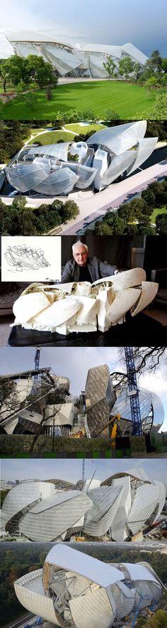 Frank Gehry's arts centre for a cultural foundation established by fashion brand Louis Vuitton, Jardin d'Acclimatation, Paris.