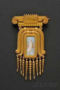 Etruscan Revival 18kt Gold and Enamel Brooch, Eugene Fontenay | Sale Number 2487, Lot Number 495 | Skinner Auctioneers