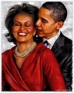 Barack and Michelle Obama.  EMPRESS  &  EMPEROR  in  happier  times.