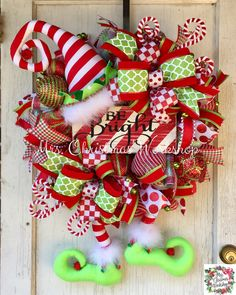 Christmas wreath elf wreath deco mesh by MrsChristmasWorkshop