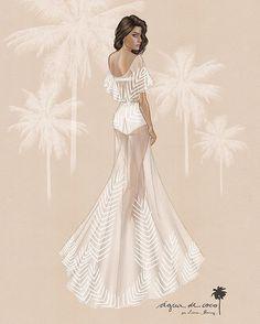 Fashion illustration, @isabelifontana wedding dress by @aguadecocobr // A @folhadespaulo divulgou em primeiríssima mão o croqui do vestido que a gente desenhou para o casamento da @isabelifontana!  A top se casa amanhã com o rockstar @diferrero em uma cerimônia nas ilhas Maldivas! ✨ Mais detalhes sobre o vestido em f5.folha.uol.com.br ☀️ #ACnaMídia #isabelifontana