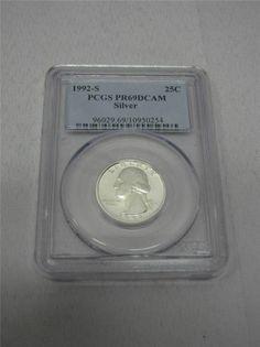 PCGS PR69DCAM Silver Washington Quarter 1992-S - EBay price $38.99 + free shipping