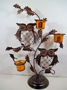 Metal OWL Duo w/ 3 Votive Candle Holders Sculpture - Stone Eyes & Beaded #Unbranded #Contemporary