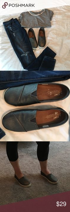 Toms slip on shoes size 7.5 Toms slip on shoes size 7.5, gray color, only worn once for two hours brand new condition! TOMS Shoes Espadrilles