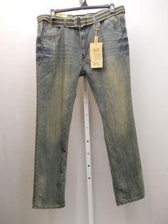 MEN'S JEANS Size 42X32 FUSAI Acid Wash Straight Leg Comfort Slim Fit 100% Cotton #Fusai #ClassicStraightLeg