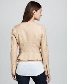 Cusp by Neiman Marcus Faux-Leather Peplum Jacket - Neiman Marcus