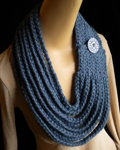 Denim Blue Chain Scarf Neckwarmer Necklace with by thehipgrandma Crochet Hooded Scarf, Crochet Scarves, Knit Crochet, Crochet Waffle Stitch, Knitted Necklace, Crochet Flower Patterns, Crochet Woman, Arm Knitting, Fabric Jewelry