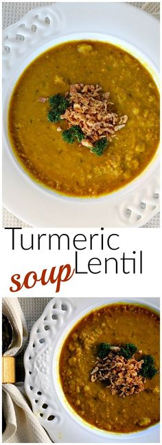 Healthy Turmeric and Lentil Soup Recipe. Easy and delicious dinner recipe idea. With carrots, celery and exciting exotic spices, this is one of our favorite soups.  Enjoy the benefits of healthy turmeric recipes. via @lannisam