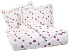 Pinzon Lightweight Cotton Flannel Duvet Set - Full/Queen, Snowflake Bordeaux
