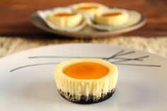 Apricot Glazed Black and White Cheesecake Cupcakes