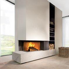 Lareira KalFire de 65 cantos de madeira pura com aquecimento - Stone e Dec . Fireplace Tv Wall, Open Fireplace, Fireplace Remodel, Living Room With Fireplace, Fireplace Surrounds, Fireplace Design, Ikea Living Room, Home Living, Modern Houses
