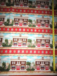 Local Heroes Cotton Fabric Firemans Fire Station Stripes Cotton Fabric