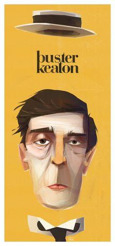 Stone face portrait. Buster Keaton. yellow digital illustration Ben Olive