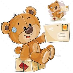 Buy Vector Illustration of a Brown Teddy Bear Sitting by vectorpocket on GraphicRiver. Vector illustration of a brown teddy bear sitting on a postal parcel and holding in its paw received letter. Tatty Teddy, Brown Teddy Bear, Cute Teddy Bears, Bear Cartoon, Cute Cartoon, Cartoon Clip, Pictures To Draw, Cute Pictures, Urso Bear