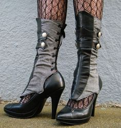 Herringbone and Leather Spats with Gathers by EidoL on Etsy, $78.00