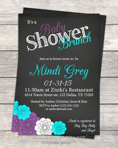 Baby Shower brunch invitation gray teal and purple by DigiBabyDesign