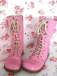 ANGULUS Pink Leather Lace Up Long Boots