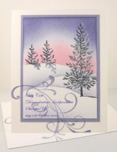 handmde winter card by SCOTE  ... Lovely as a Tree ... sponging ... soft sunrise ... snow banks ... delightful ... Stampin' Up!