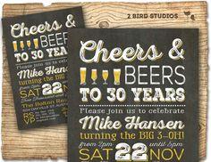 Beer birthday invitation  cheers and beers by 2birdstudios on Etsy