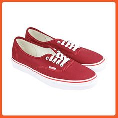 Vans Authentic Mens Red Canvas Lace Up Lace Up Sneakers Shoes 7 - Sneakers for women (*Amazon Partner-Link)