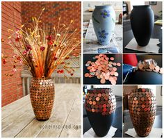 Decorate A Vase With Pennies