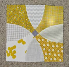 Flowering Snowball Block: 12squared: April Curve Balls, yellow and gray