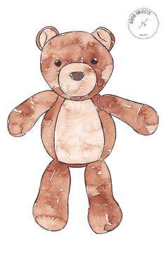 Good objects - Teddy bear watercolor illustration from the printable kids collection. #goodobjects #watercolor #illustration