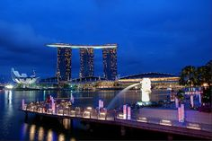Merlion y Marina Bay