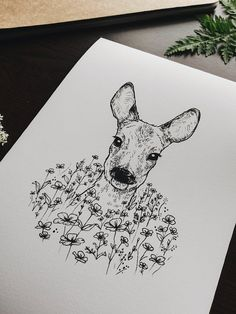 Deer Head Art Print, Deer Portrait, Deer Art Print, Floral Deer Print, Deer Digital Art Print, Woodland Animal Art Print, Deer Flowers Print by Raahat Kaduji - @raahatventures - raahatillustration.etsy.com