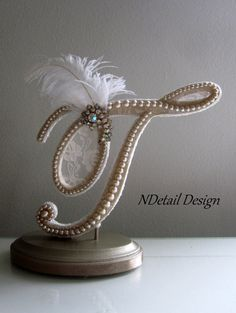 Cake Topper Monogram Letter T in Champagne Lace with Ostrich Feather and Rhinestone Brooch for Vintage or Gatsby Wedding