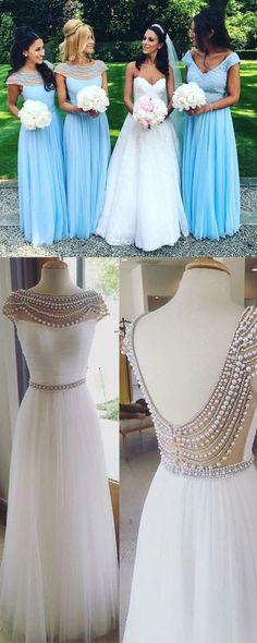2016 bridesmaid dress, long bridesmaid dress, chiffon blue bridesmaid dress…