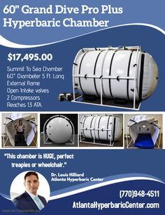 Grand Dive Pro Plus Hyperbaric Chamber is a perfect hyperbaric chamber for perfessional use. This chamber can hold a wheelchair, up to 4 people. Physical Therapy, Diving, Health Care, Atlanta, Room, Bedroom, Scuba Diving, Rooms, Physical Therapist
