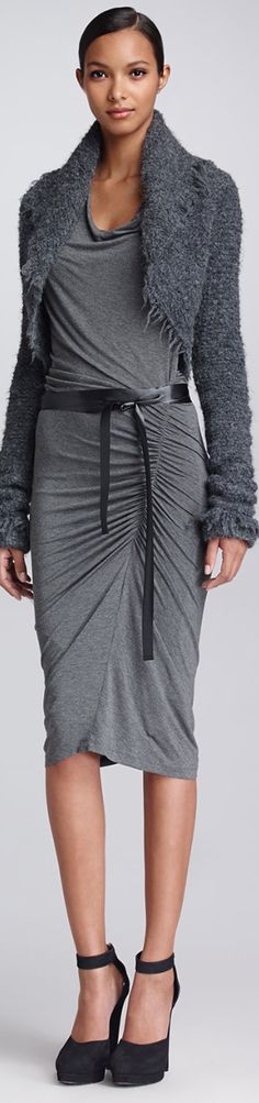 Gray is a popular and sophisticated office color for women.  This dress by Donna Karan is fabulous for the career focused woman.