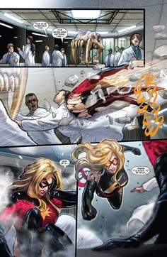 WAR OF THE MARVELS PART ONE Karla Sofen battles for her life in the streets of Los Angeles as an exciting new chapter in the history of Ms. Marvel begins! Guest starring the New Avengers! Marvel Dc Comics, Ms Marvel Captain Marvel, Captain Marvel Carol Danvers, Marvel Heroes, Comic Book Artists, Comic Books Art, Comic Art, Spiderman Movie, Amazing Spiderman