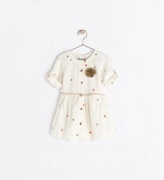 Image 1 of POMPOM EMBROIDERED DRESS from Zara