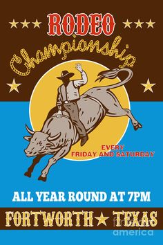 Rodeo Cowboy Bull Riding Poster. We make the Stockyard Rodeo every time we're in the Ft. Worth area.