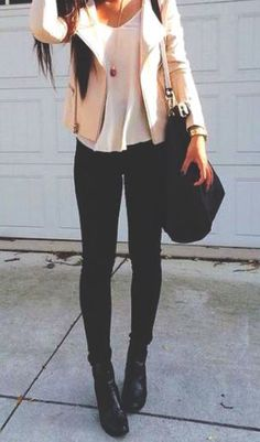 #fall #fashion / cream leather