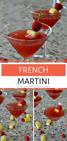 Delectable gorgeous French Martini is made with three ingredients in about 2 minutes! This quick martini recipe is a fun change to your next holiday or dinner party. This will be your new favorite martini cocktail recipe! Cocktail Drinks, Fun Drinks, Cocktail Recipes, Beverages, French Martini, Pumpkin Lasagna, New Years Eve Food, Easy Family Meals, Quick Recipes